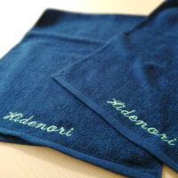 抗菌キトサンカラーフェイスタオル【ネイビー】 名入れ刺繍