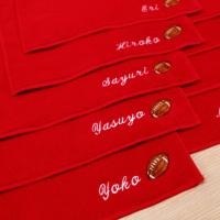 赤ハンドタオル〔今治タオルエール〕名入れ刺繍